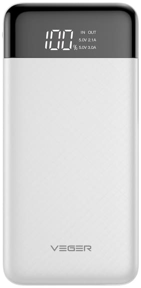 VEGER W1056 10000 mAh Power Bank - White