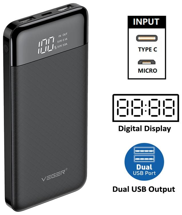 VEGER W1056 10000 mAh Power Bank - Black
