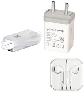 Wake Wood 2 Amp Dual Socket Mobile Charger With with 1 m Micro USB Data Cable + Free Ear Phone