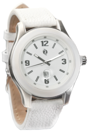 Watch2Pay Classic White with Leather Strap including Rechargeable Metro Wearable Card by LAKS (INR 200/- loaded)