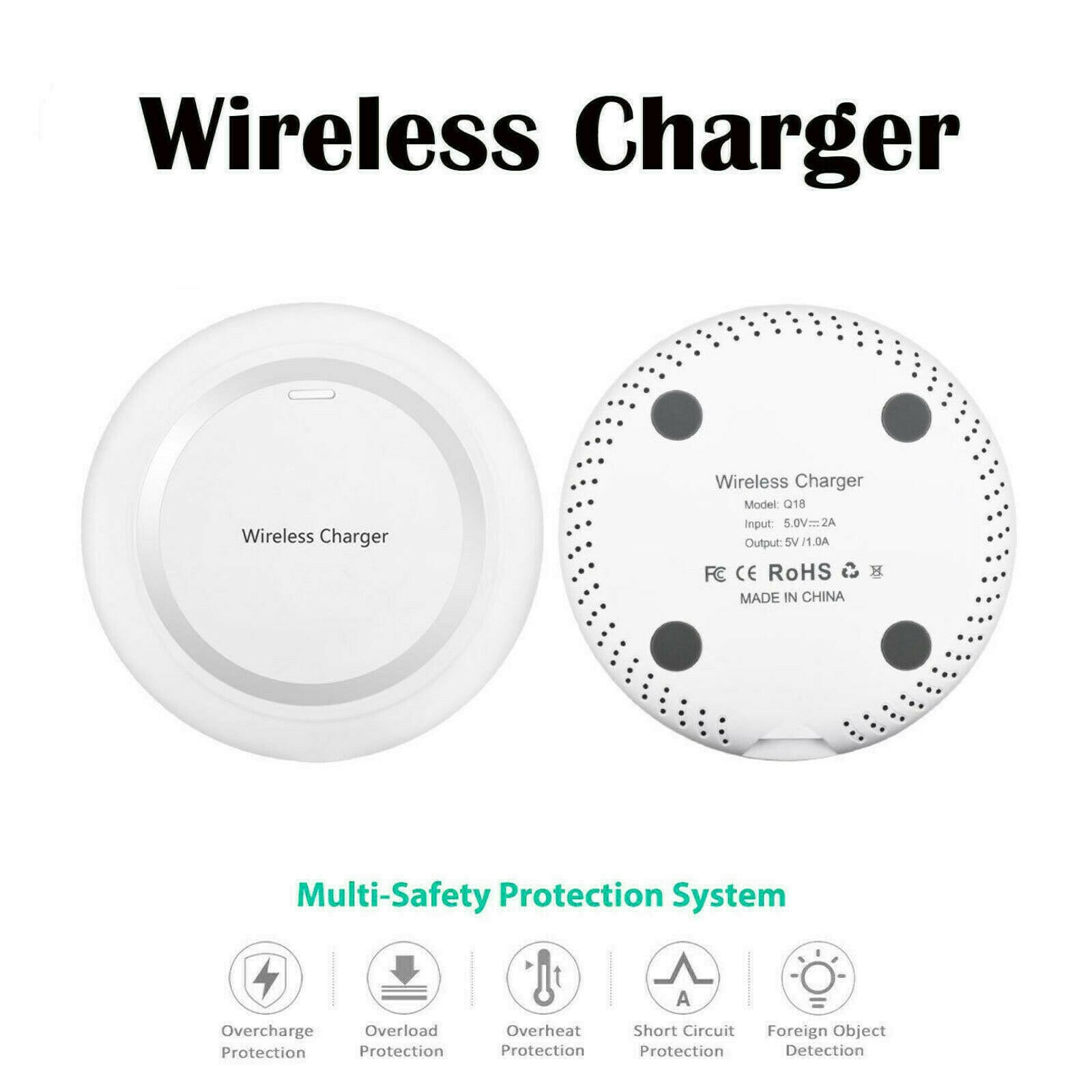 White Qi Wireless Battery Charger Pad for Apple iPhone 8 Plus X Desktop Charging by Stelcore