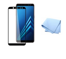 Wolfano All Edge to Edge 6D Glue Tempered Glass Full Screen Protection for Samsung Galaxy A7 2018 (Black)