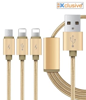 Xclusive plus High Quality Braided 3in1 Data Cable For all Smartphones