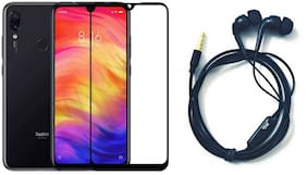 Britney World  2 in 1 COMBO  -  6D Edge to Edge Tempered Glass / Earphone with Mic For Xiaomi Redmi Note 7 Pro