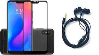 Britney World  2 in 1 COMBO  -  5D Edge to Edge Tempered Glass / Earphone with Mic For Xiaomi Redmi Note 6 Pro