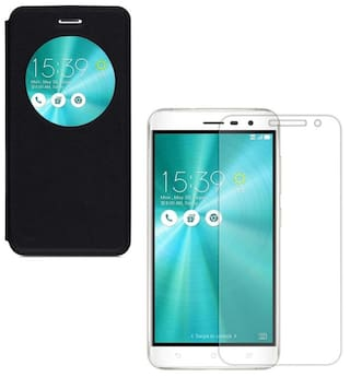 newest 58a00 547f7 YGS Premium sparkle Circle view Flip Cover Case For Asus Zenfone 3 ZE552KL  (5.5 inch)-Black With Tempered Glass