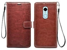 Mi Redmi Note 5 Leather Flip Cover By Yolke ( Brown )