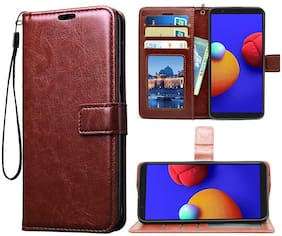 Samsung Galaxy M01 Core Faux Leather Flip Cover By Yolke ( Brown )