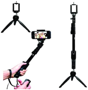 YT 1288 2 in 1 Adjustable Selfie-Stick-Monopod and YT 228 Mini-Tripod for Smartphones-Mobile BY CHG