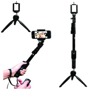 YT 1288 2 In 1 Adjustable Selfie Stick Monopod AND YT 228 Mini Tripod for Smartphones BY TSV