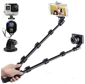 YT-1288 Selfie Stick for Smartphone & Camera with Bluetooth Remote (Black)-Best Rated Product