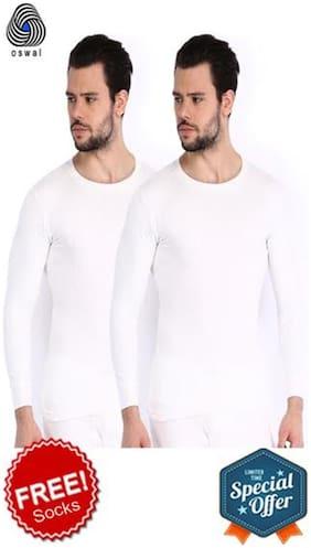 Oswal Men Cotton Thermal Top - White