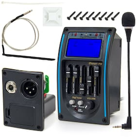 5 Band Acoustic Guitar Preamp EQ Equalizer Piezo Pickup Amplifier Tuner LCD Mic
