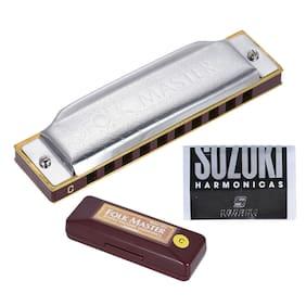 Suzuki Folkmaster Standard 10-Hole Diatonic Harmonica Key of C 20 Tone PRO