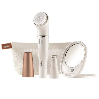 Braun Face 831 beauty edition - Facial cleansing brush & Facial epilator with Lighted mirror & beauty pouch