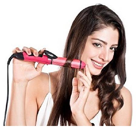 HUERA Hu_2 in 1 hair straightner Hair Straightener   Pink