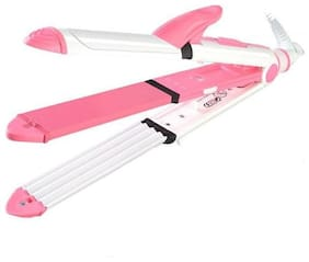INNOVA Professional 3 in 1 electric hair straightener curler styler and crimper Hair Straightener ( Pink & White )