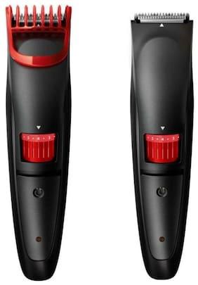 KIX2 KX-2019 Hair and Beard USB Cordless Rechargeable Trimmer for Men Shaving - 0.4mm-8.5mm Length Setting, 45 Min Run Time (RED & BLACK)