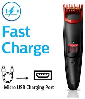 KIX2 KX-2019 Hair and Beard USB Cordless Rechargeable Trimmer for Men Shaving - 0.4mm-8.5mm Length Setting, 45 Min Run Time (RED & BLACK)