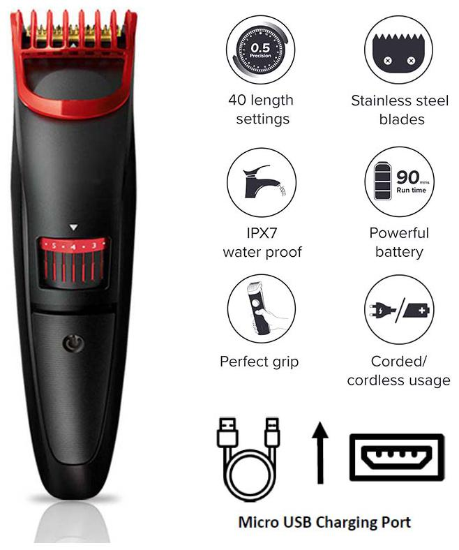 Om Shoppe Os-2019 Hair And Beard Usb Cordless Rechargeable Trimmer For Men...