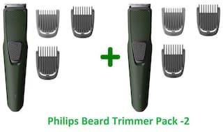 Philips Bt1212/15 pack of two Mustache & beard trimmer For Men ( Green )