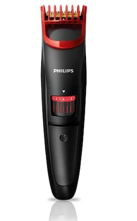 Philips QT4011/15 CORDED & CORDLESS TITANIUM BLADE Mustache & Beard Trimmer For Men ( Black & Red , Rechargeable Battery )