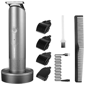 Pritech 2888 Professional Rechargeable Battery Stainless Steel Cordless Beard & Hair Trimmer for Men (Silver)