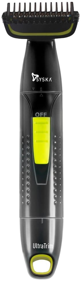 Syska BGT300 ULTRATRIM BODY GROOMER Body Groomer For Men ( Black & Green , Rechargeable Battery )
