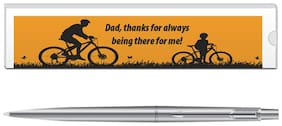 Parker Classic Stainless Steel CT Ball Pen With Dad Quote-2