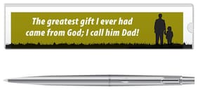 Parker Classic Stainless Steel CT Ball Pen With Dad Quote-3