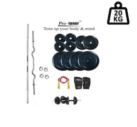 Protoner Weight Lifting Home Gym 20 kg + 4 Rods (1 Curl)+ Gloves+ Rope+W. Band