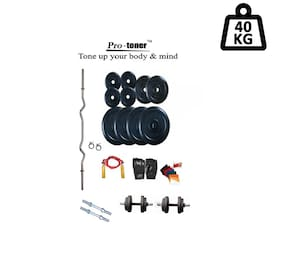 Protoner Weight Lifting Home Gym 40 kg + 3 Rods (1 Curl)+ Gloves+ W. Band