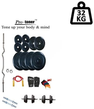 Protoner Weight Lifting Home Gym 32 kg + 3Rods (1 Curl)+ Gloves+ W. Band