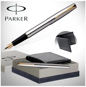 Parker Frontier SS GT Fountain Pen And Leather Wallet Combo
