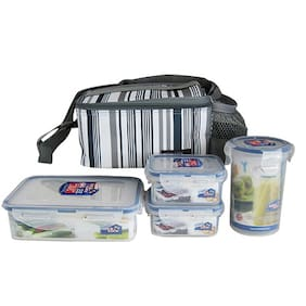 Lock&Lock Square Lunch Box Set With Grey Bag
