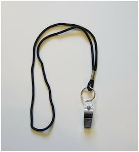 1 NEW HEAVY DUTY CHAMPION BRASS METAL WHISTLE & 1 BLACK LANYARD WITH RING