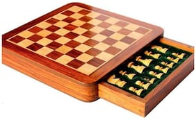 25.4 cm (10 inch) Square Wooden magnetic chess board with collectible Drawer