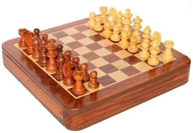 25.4 cm (10 Inch) square wooden magnetic, collectible chess board