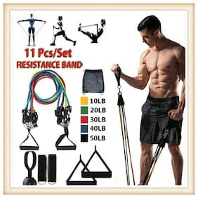 11 pc Exercise Bands Workout Bands with Carry Bag, Door Anchor, Handles, Ankle Straps for Body Stretching