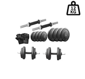 Protoner 12 kg Rubber Dumbell With Dumbell Rod And Gym Glove