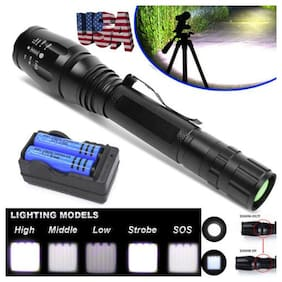 LED Military 950000LUMEN Police Flashlight Powerful Zoom Torch Light+Battery USA