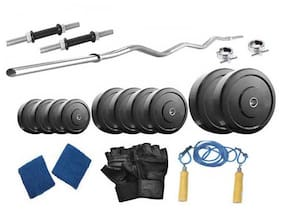 Protoner 24 Kg Weight Lifting With Curl Rod And Home Gym Accessories