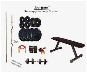 Protoner 24 Kg Weight Lifting With Flat Bench And Home Gym Accessories