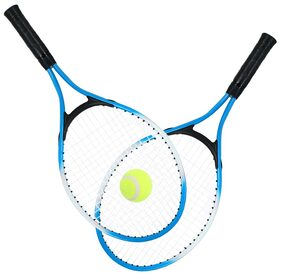 2Pcs Kids Tennis Racket String Tennis Racquets with 1 Tennis Ball and Cover Bag Blue