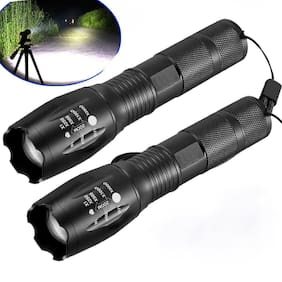 2X 10000LM Zoomable LED Flashlight Focus Torch Light 18650/AAA Outdoor Light