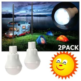 2x Rechargeable Solar Panel Powered Led Bulb Lamp Home Camping Emergency Light
