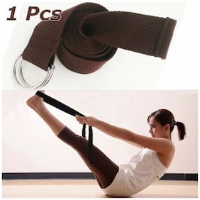 3.8mm x 183cm D-Ring Yoga Sport Stretching Strap Belt Brown