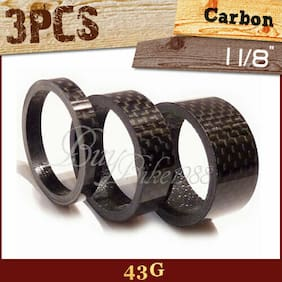 "3pcs HEADSET 3K Carbon Spacer 1-1/8""INCH 20MM 15MM 5MM MTB ROAD - 40MM  BLACK"