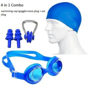 4 in 1 Combo Swimming Kit for goggle Cap Nose Plug and Ear Clip