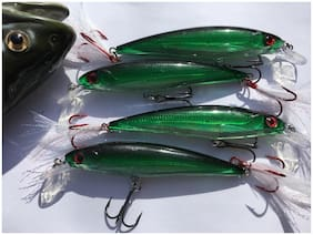 (4 PACK) Rapala X-Rap Style Crankbait/Jerkbait Fishing Lures  RED  HOOK size 10